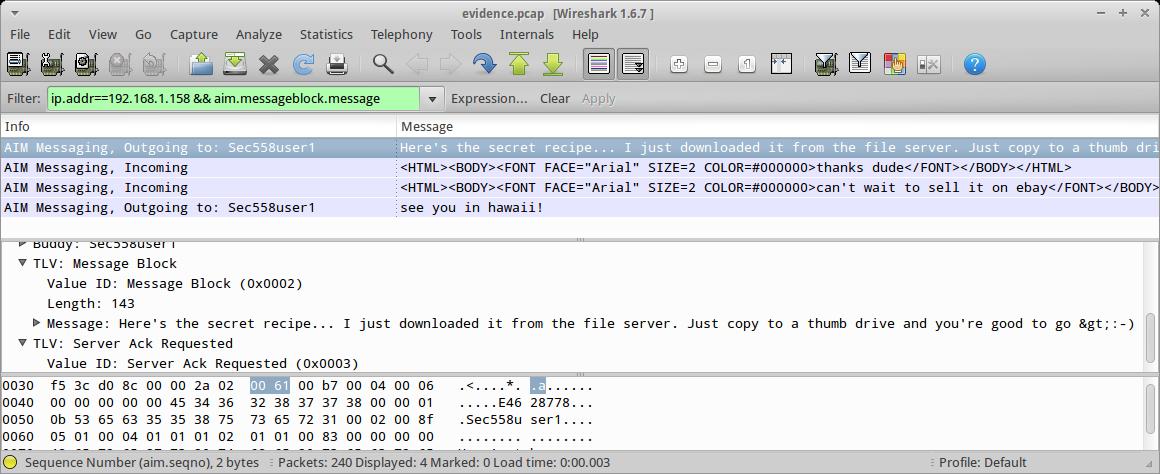 Fun with Wireshark and AIM |